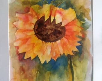 Sunflower 3  Watercolor Painting  16x20 Matted