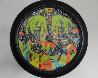 Psychedelic Clock Hand Painted and ready to hang