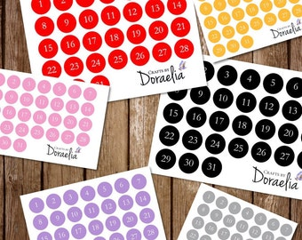 DIY Date stickers, Planner date stickers