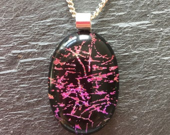 Jazzy dichroic glass, bright pendant, patterned dichroic glass, purple dichroic glass, pink dichroic pendant, fused glass pendant