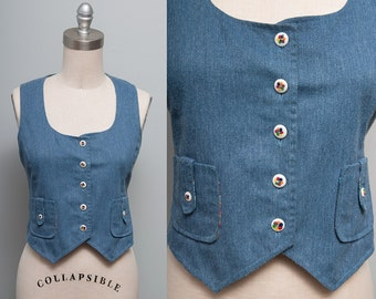 Sale 40% Off VTG 1970's Cropped Fitted Denim Hippie Boho Vest - XS/S