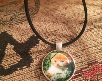 Ginger cat silver pendant on black suede necklace