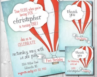 Hot Air Balloon Bday Invitation with matching note and favor tag/DIGITAL FILES/printable/wording and age can be changed