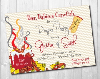 Crawfish Boil Invitation Diaper Party printable/Digital File/seafood boil, couples shower, crawfish baby shower/Wording can be changed