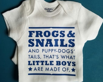That's What Little Boys Are Made Of, Frogs And Snails And Puppy Dog Tails, Baby Boy Gift, Baby Boy Shower Gift, Baby Gender Reveal, Brother