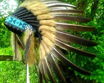 TOTAL SALE! Turkey Feather Headdress, Indian style headdress, Indian style Costume, Warbonnet, Masquerade, Native American clothing style