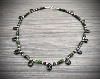 green tourmaline and karen hill tribe silver necklace