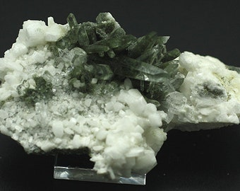 Chlorite-included Quartz crystals on white Albite, Nepal - Mineral Specimen for Sale