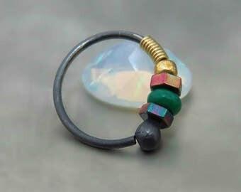 helix hoop earring // tragus piercing // black cartilage ring // helix piercing