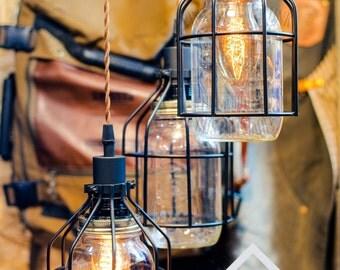 3 Mason Jar with cages chandelier light vintage Industrial, Antique Edison Bulb, Mason Jar Lamp, Rustic Lighting