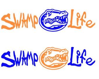 Swamp Life Decal. Florida. Florida Gators. Gator Sticker. Orange and Blue. Chomp.