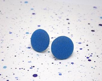 Blue fabric stud earrings - Blue button earrings - Blue post earrings - Bright blue studs - Round blue studs - Simply blue earrings