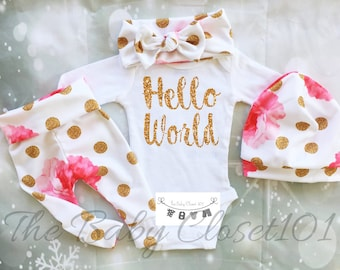 Newborn Girl Coming Home Outfit,Girls Coming Home Outfit Set,Baby Girl,Hospital Outfit,Floral Baby Outfits,Flowers,Fabric NOT REAL GLITTER