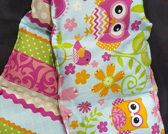 Rice Heating Pad,  Rice Bag, Hot pack Cold Pack, Rice Wrap (owl and stripes)