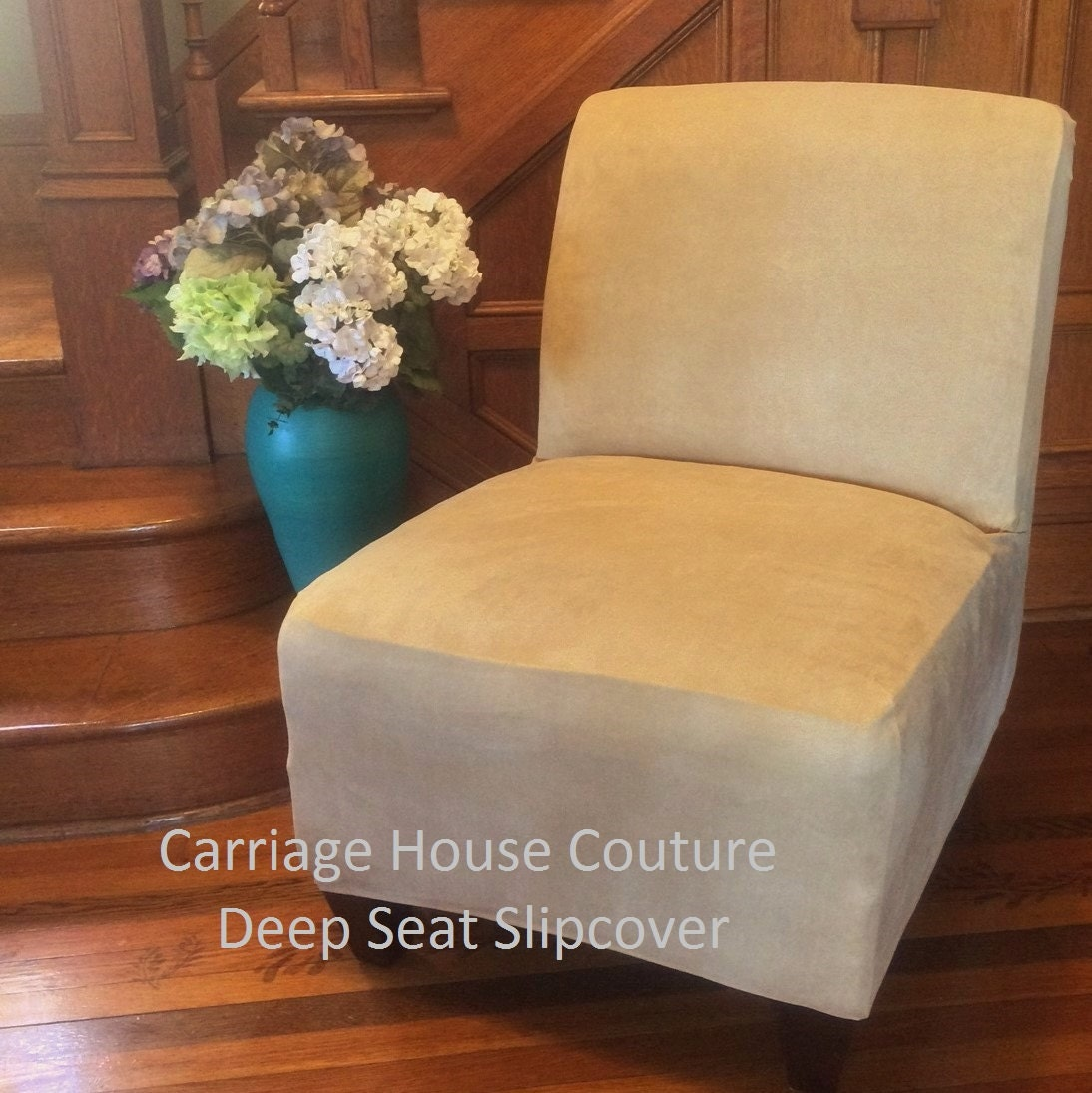 Slipcover Beige Suede Chair Cover For Armless Chair Slipper