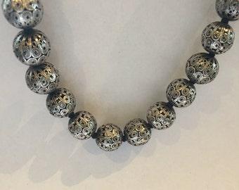 Vintage silver filigree beads