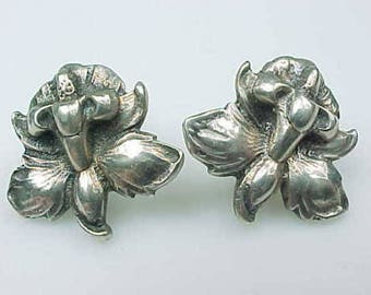 Elegant Lily Earrings, Sterling Silver, Screw Back ~ Stamped 925 ~ Lovely Detailed Flowers for Easter