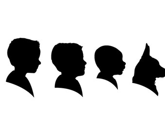 Family Digital Silhouette Portrait (up to 7 people including pets)
