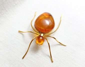 Vintage Russian Gold Plated Spider Baltic Amber Spider Gold Plated Spider Insect Brooch
