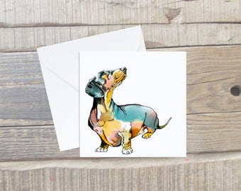 Dachshund Greeting Card with Envelope - Dachshund Art - Square Card - Dog Lover Card Gift - Sausage Dog Card - Wiener Dog Card