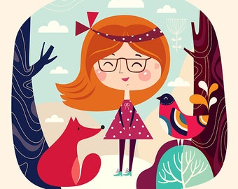 Amazing colorful Art Print with playful girl, fox, bird and trees for decor interior. WALL ART DECOR