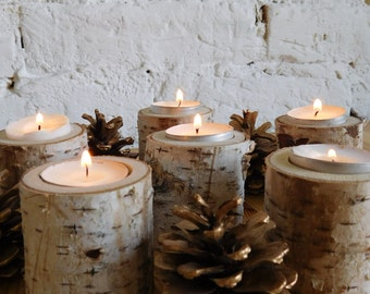 Wooden tealight holders, Birch tealiht holders, Set of 6 taelight holders, Tree log candle holders' Wedding candle holders.