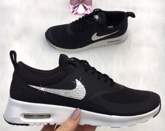 Swarovski Nike Shoes Air Max Thea Running Shoes Black Bling Nike Shoes