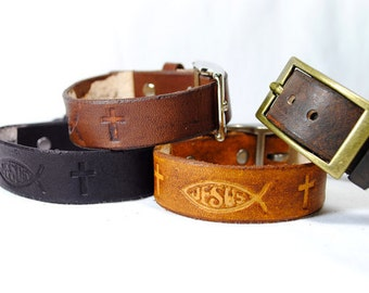 Jesus Ichthus Real Leather Bracelet with Buckle