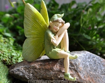 Moth the Green Fairy for Miniature Garden, Fairy Garden