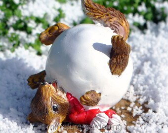 Squirrel Snowball for Miniature Garden, Fairy Garden