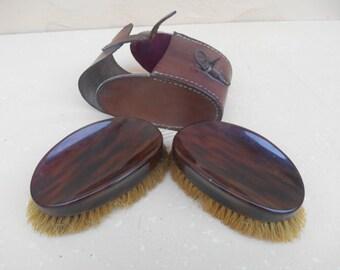 Vintage Men's Clothes Brush Set, Faux Tortoise Shell in Leather Case
