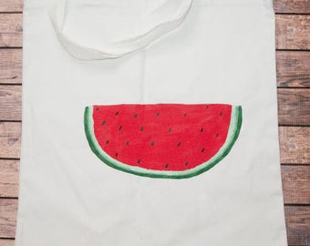 Hand Painted Watermelon Tote