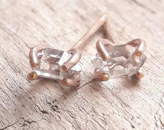 Rose Gold Herkimer Diamond Stud Earrings - Crystal Earrings - Minimalist Earrings - Post Earrings - Rose Gold Fill - Everyday Earrings