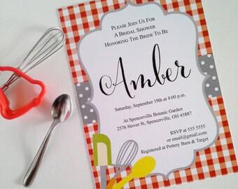 Bridal Shower Invitation. Red check tablecloth design. Printable digital file.
