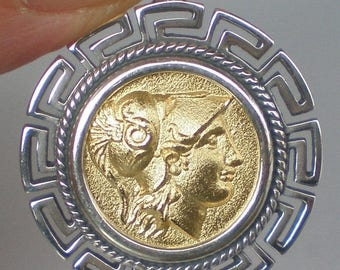 For Sale Helmetted Goddess Athena Silver Coin Pendant(Gold Plated) - Meander Design