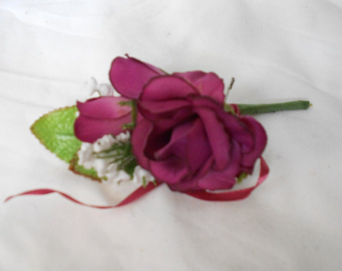 Set of 4 deep plum wine color single large  rose  boutonniers or corsages