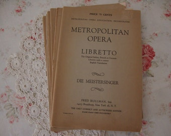 6 Lot Antique 1800's METROPOLITAN OPERA Theatre Books Drama Acts Scenes PAMPHLET leaflet Italian, French or German to English