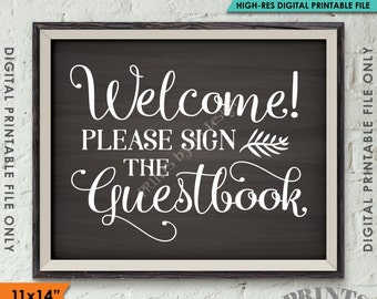 """Guestbook Sign, Please Sign the Guestbook Sign the Guest Book Sign, Wedding Sign Printable 11x14"""" Chalkboard Style Instant Download"""