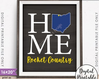 "Toledo Ohio, Rocket Country University of Toledo Ohio Home Sign Decor, UT Rockets, Instant Download 8x10/16x20"" Chalkboard Style Printable"