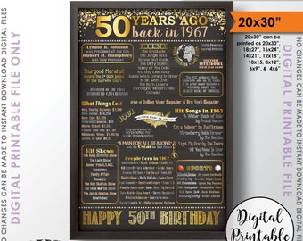 """50th Birthday Gift 1967 Poster, 50 Years USA Flashback to 1967 Born 1967 Birth Instant Download 20x30"""" 50th B-day Chalkboard Style Printable"""
