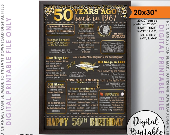 "50th Birthday Gift 1967 Poster, 50 Years USA Flashback to 1967 Born 1967 Birth Instant Download 20x30"" 50th B-day Chalkboard Style Printable"