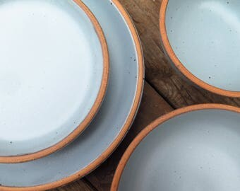 Custom Noe Dinnerware Set in Bay Fog // Pale Blue Glaze Grey- Made to Order Wedding Registry Handmade Pottery Stoneware Dining Set Gift