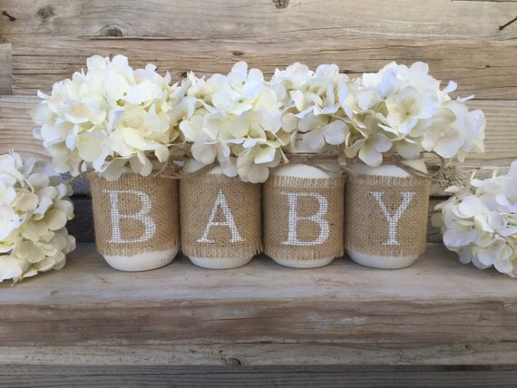 Baby shower decor nursery decor rustic baby shower burlap for Baby shower foam decoration