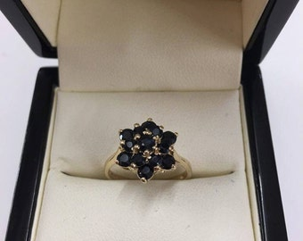 9ct Yellow Gold Sapphire Cluster Ring