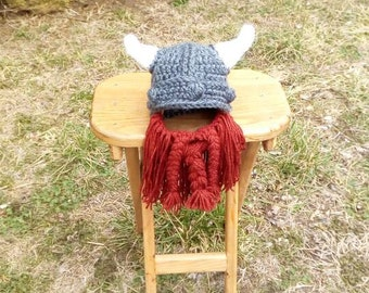 Crochet Viking Hat with beard. newborn-toddler