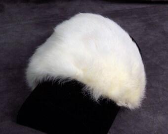 White Rabbit Fur Girls Hat, Fascinator, Satin lining