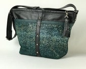 Black and Teal leather Bucket Bag
