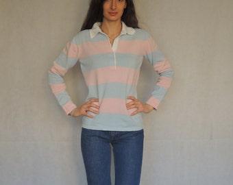 90s Vintage Baby Pink and Light Blu Polo Shirt
