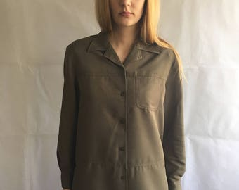 Vintage Olive Green Slouchy Button Up Shirt