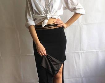90s Vintage Black Maxi Long Skirt with Side Slit